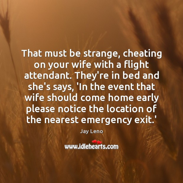 That must be strange, cheating on your wife with a flight attendant. Image