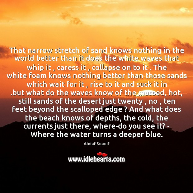 That narrow stretch of sand knows nothing in the world better than Ahdaf Soueif Picture Quote