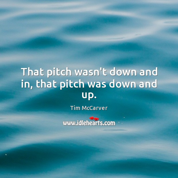 That pitch wasn't down and in, that pitch was down and up. Image