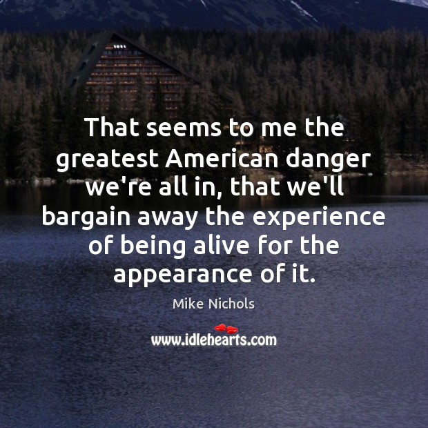 That seems to me the greatest American danger we're all in, that Image