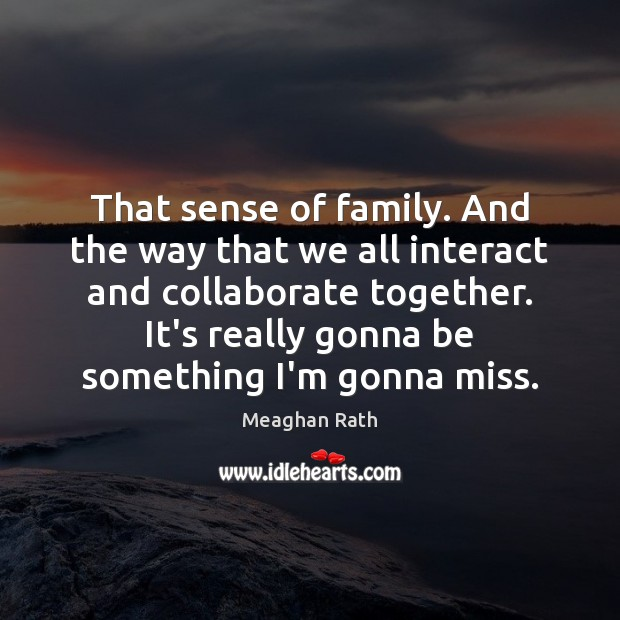 That sense of family. And the way that we all interact and Meaghan Rath Picture Quote