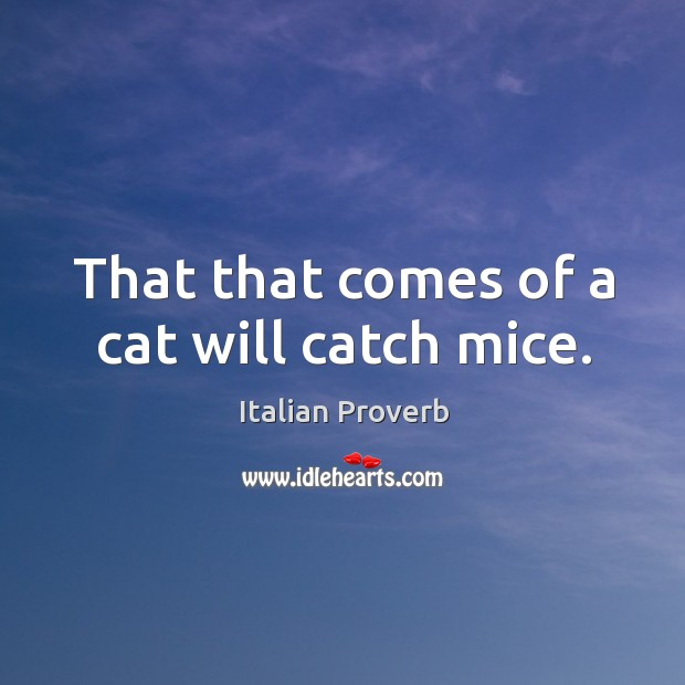That that comes of a cat will catch mice. Image