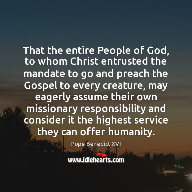 Image, That the entire People of God, to whom Christ entrusted the mandate