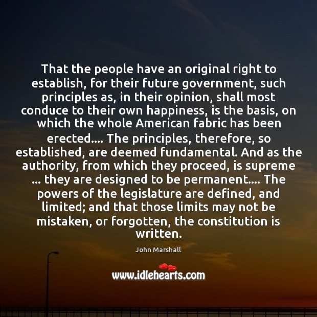 That the people have an original right to establish, for their future Image