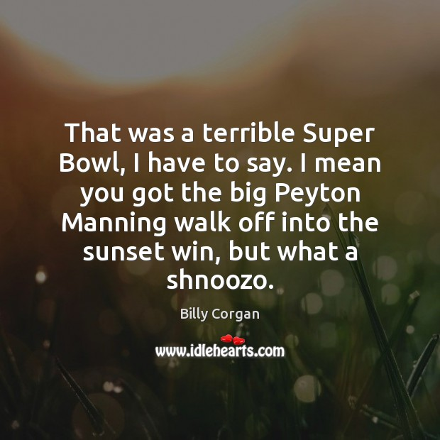 That was a terrible Super Bowl, I have to say. I mean Billy Corgan Picture Quote