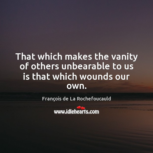 Image, That which makes the vanity of others unbearable to us is that which wounds our own.