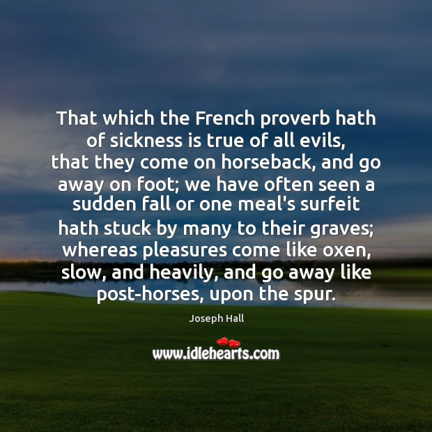 That which the French proverb hath of sickness is true of all Joseph Hall Picture Quote