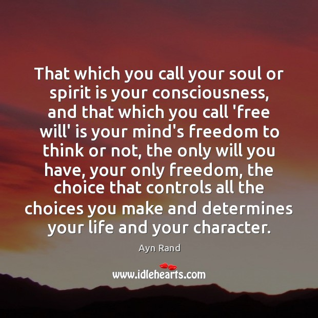 Image, That which you call your soul or spirit is your consciousness, and