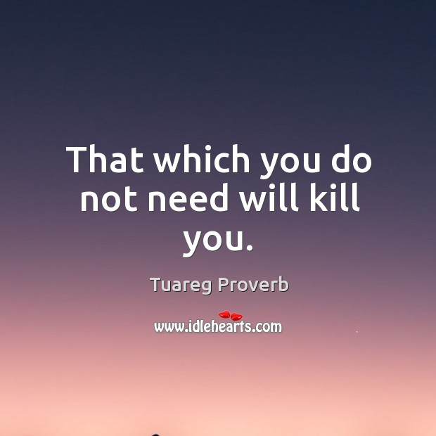 That which you do not need will kill you. Tuareg Proverbs Image