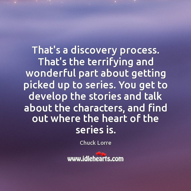 That's a discovery process. That's the terrifying and wonderful part about getting Image