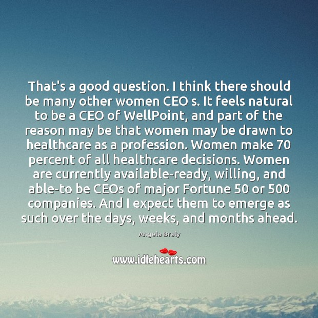 Image, That's a good question. I think there should be many other women