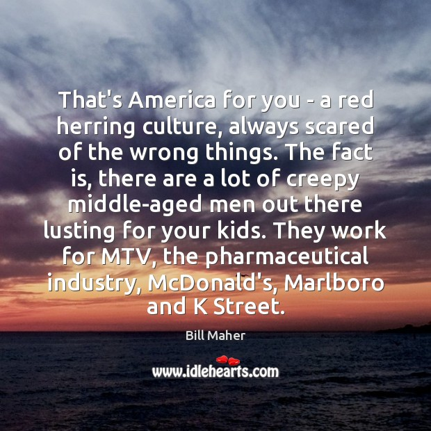 That's America for you – a red herring culture, always scared of Bill Maher Picture Quote