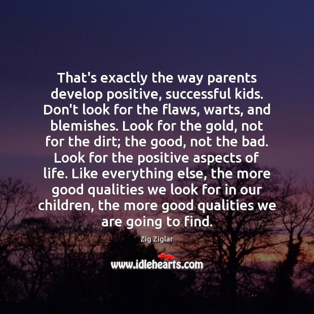 That's exactly the way parents develop positive, successful kids. Don't look for Image