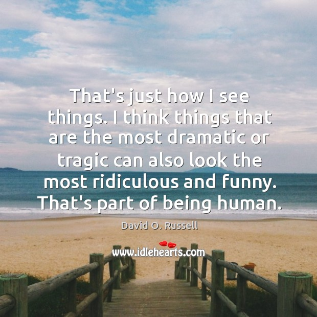 That's just how I see things. I think things that are the David O. Russell Picture Quote