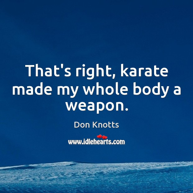 That's right, karate made my whole body a weapon. Image