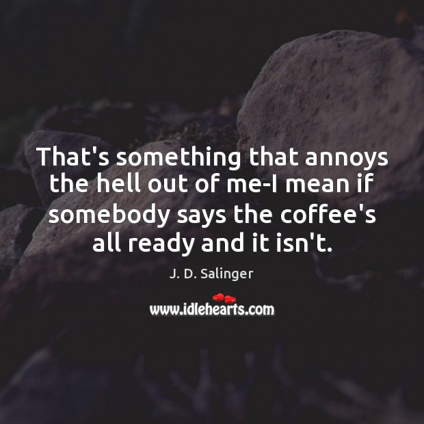 That's something that annoys the hell out of me-I mean if somebody J. D. Salinger Picture Quote