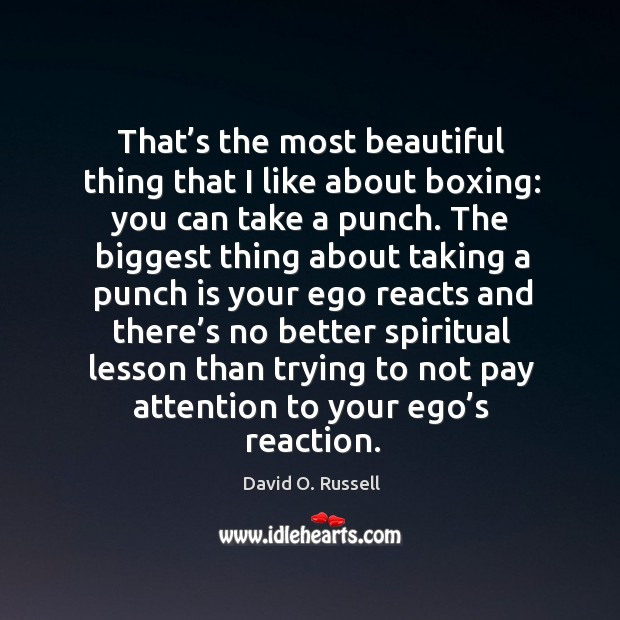 That's the most beautiful thing that I like about boxing: you can take a punch. David O. Russell Picture Quote