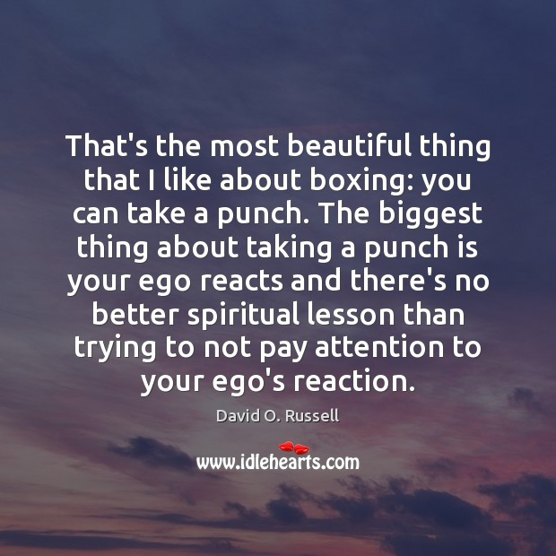 That's the most beautiful thing that I like about boxing: you can David O. Russell Picture Quote
