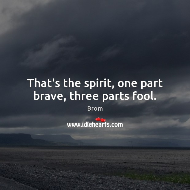 Image, That's the spirit, one part brave, three parts fool.