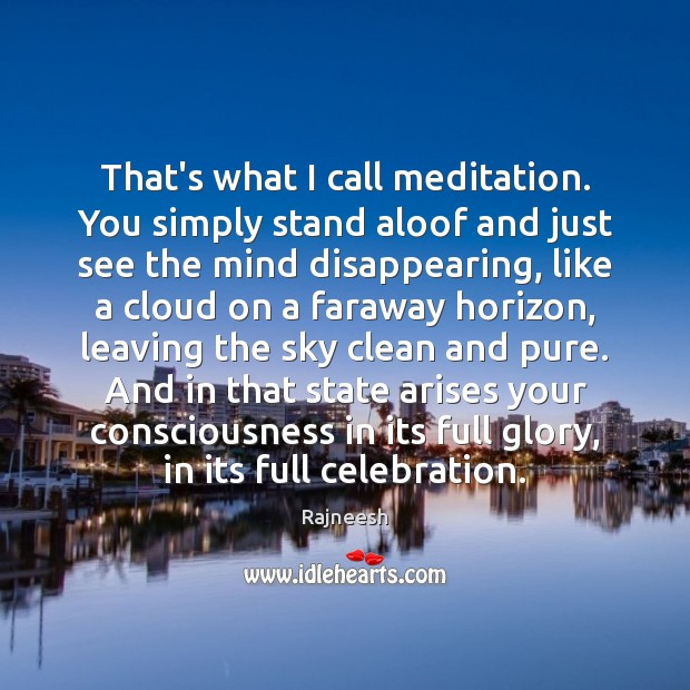 Image, That's what I call meditation. You simply stand aloof and just see