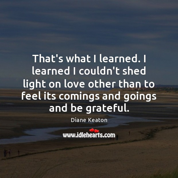 That's what I learned. I learned I couldn't shed light on love Diane Keaton Picture Quote