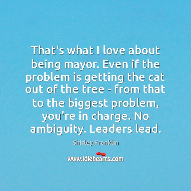 That's what I love about being mayor. Even if the problem is Image