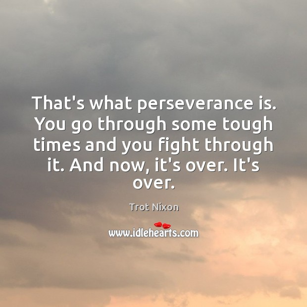 That's what perseverance is. You go through some tough times and you Perseverance Quotes Image