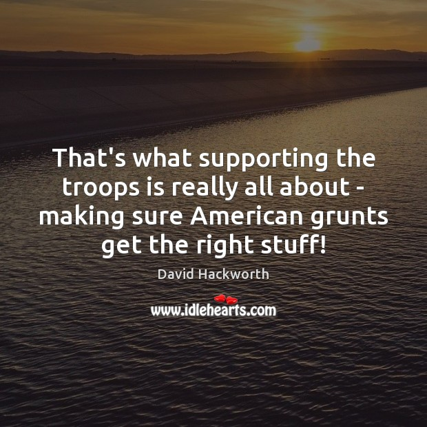 That's what supporting the troops is really all about – making sure David Hackworth Picture Quote