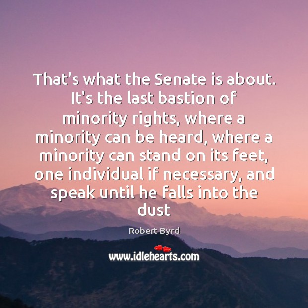 That's what the Senate is about. It's the last bastion of minority Image