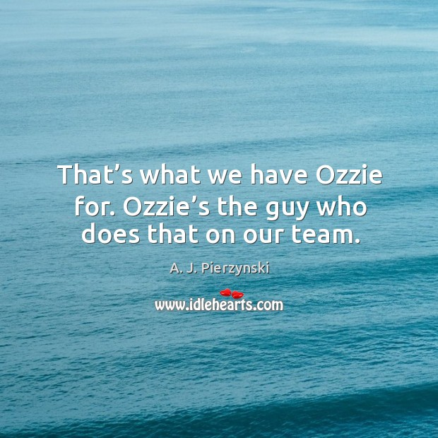Image, That's what we have ozzie for. Ozzie's the guy who does that on our team.