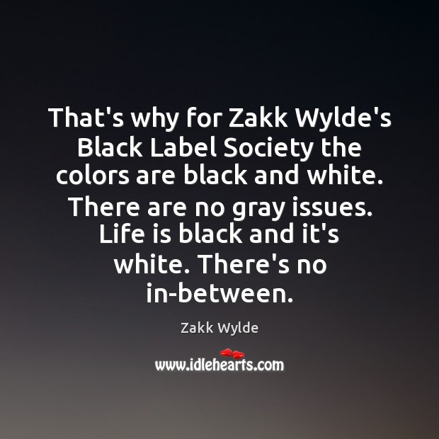 Image, That's why for Zakk Wylde's Black Label Society the colors are black