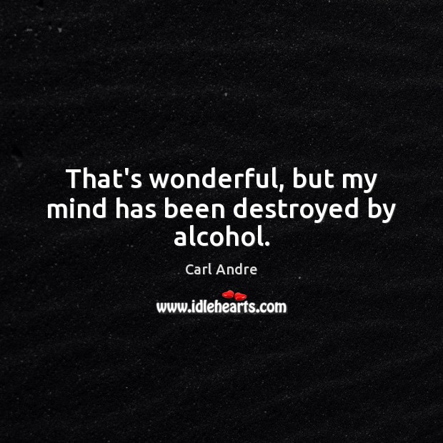 That's wonderful, but my mind has been destroyed by alcohol. Carl Andre Picture Quote