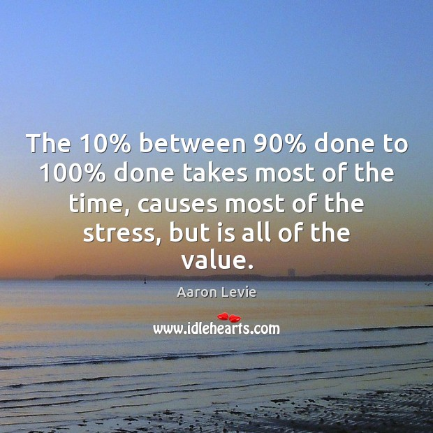 Image, The 10% between 90% done to 100% done takes most of the time, causes most