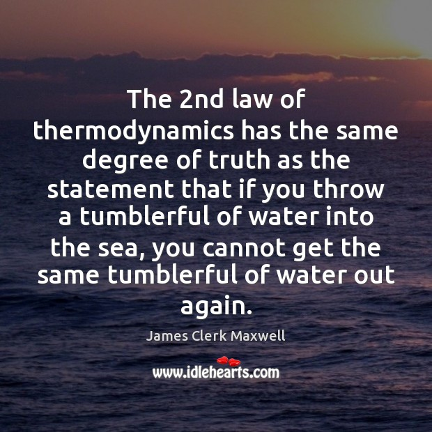 The 2nd law of thermodynamics has the same degree of truth as Image