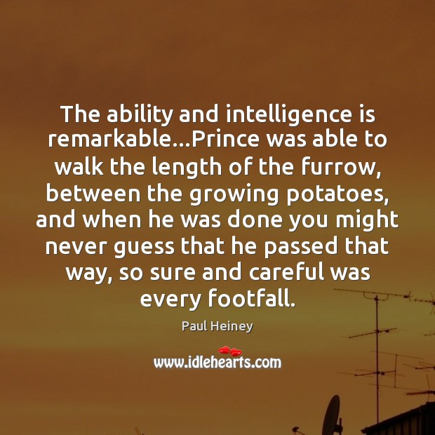 The ability and intelligence is remarkable…Prince was able to walk the Intelligence Quotes Image