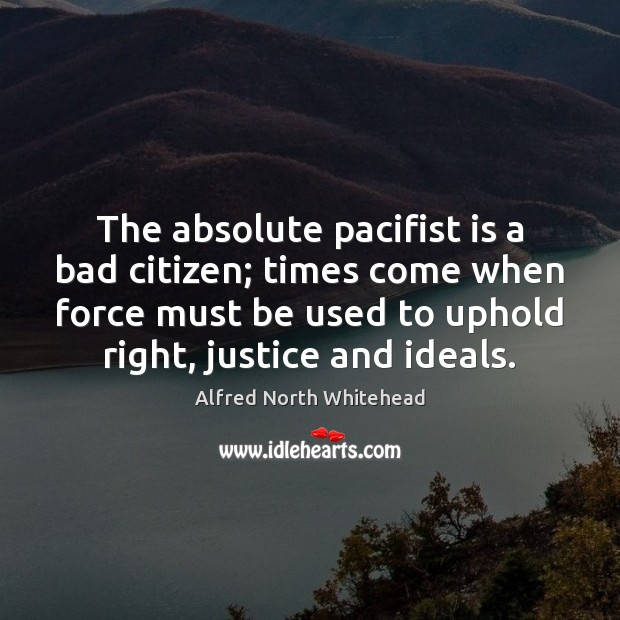 The absolute pacifist is a bad citizen; times come when force must Image