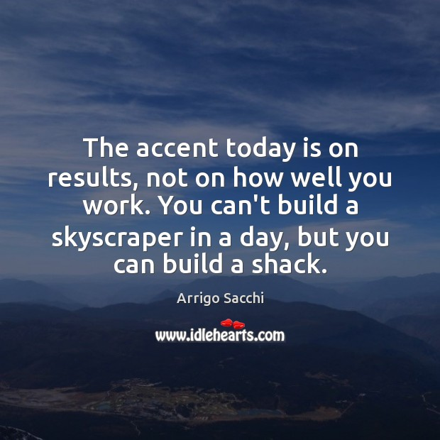 Image, The accent today is on results, not on how well you work.