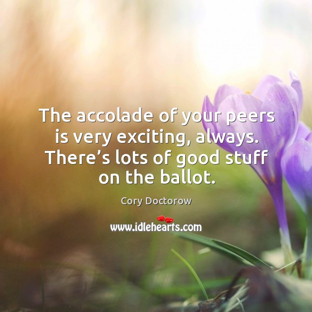 The accolade of your peers is very exciting, always. There's lots of good stuff on the ballot. Image