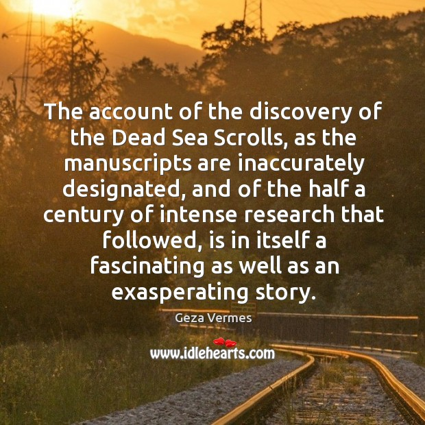 The account of the discovery of the Dead Sea Scrolls, as the Image