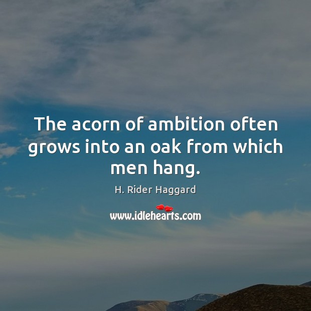 The acorn of ambition often grows into an oak from which men hang. H. Rider Haggard Picture Quote