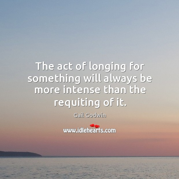 Image, The act of longing for something will always be more intense than the requiting of it.