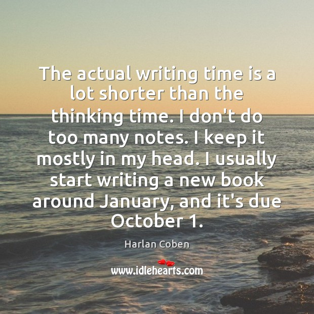 The actual writing time is a lot shorter than the thinking time. Time Quotes Image