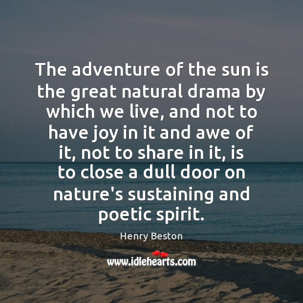 The adventure of the sun is the great natural drama by which Henry Beston Picture Quote