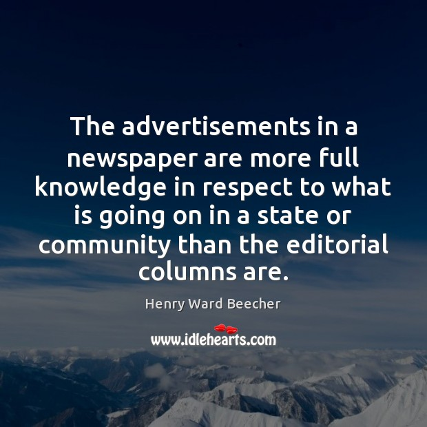 Image, The advertisements in a newspaper are more full knowledge in respect to