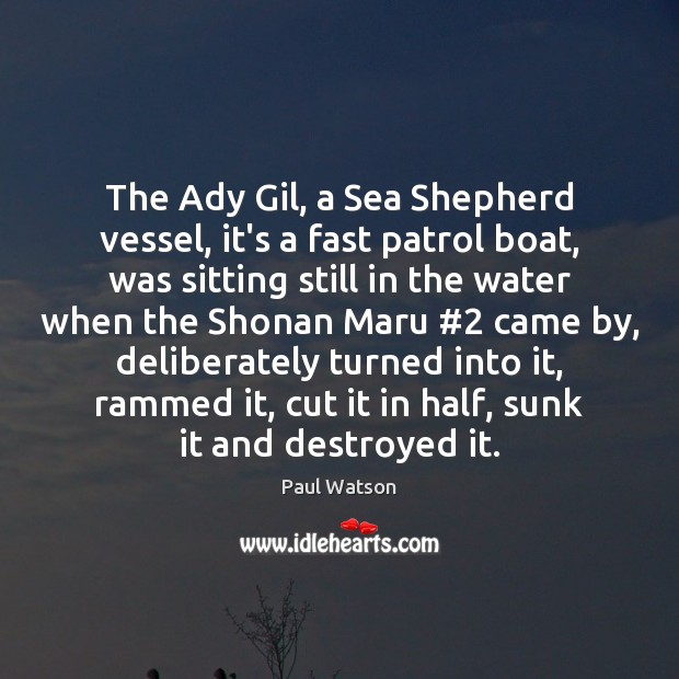The Ady Gil, a Sea Shepherd vessel, it's a fast patrol boat, Sea Quotes Image
