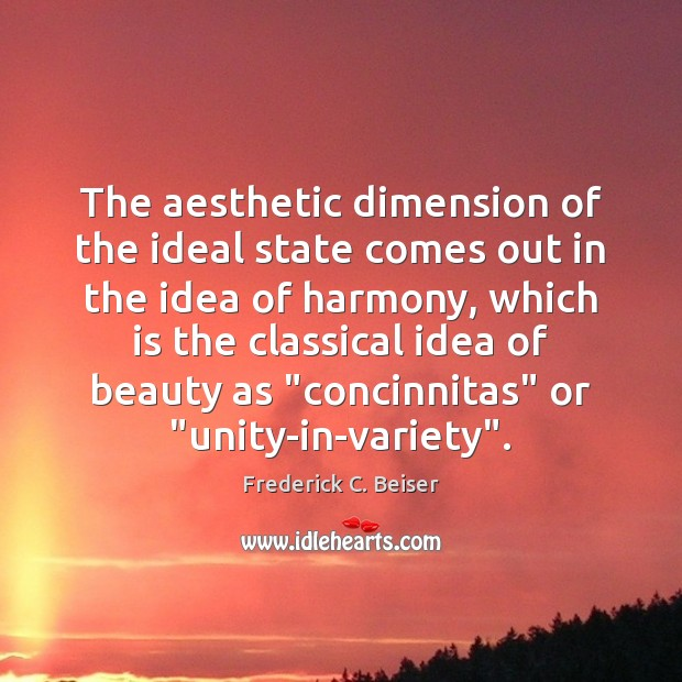 Image, The aesthetic dimension of the ideal state comes out in the idea