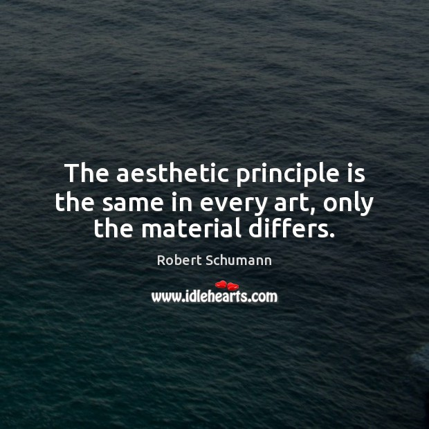 Image, The aesthetic principle is the same in every art, only the material differs.
