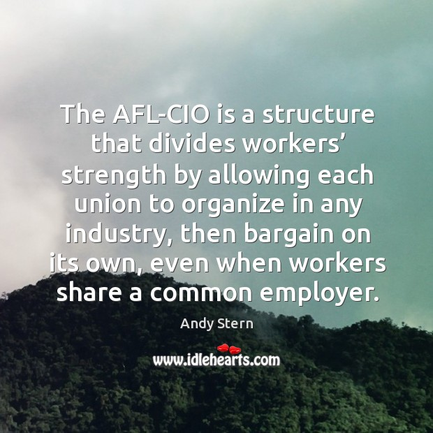 Image, The afl-cio is a structure that divides workers' strength by allowing each union to organize in any industry