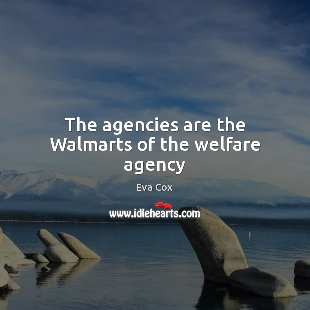The agencies are the Walmarts of the welfare agency Image