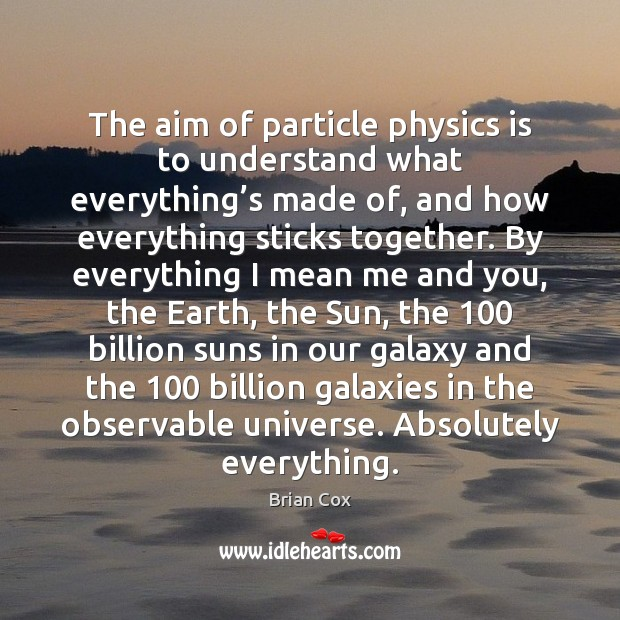 Image, The aim of particle physics is to understand what everything's made